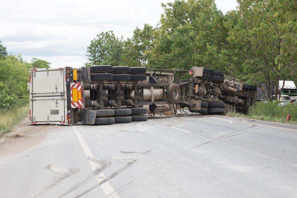 Severely damaged truck
