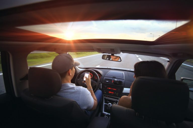 couple riding a car